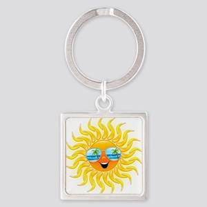 Summer Sun Cartoon with Sunglasses Keychains