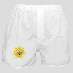 Summer Sun Cartoon with Sunglasses Boxer Shorts
