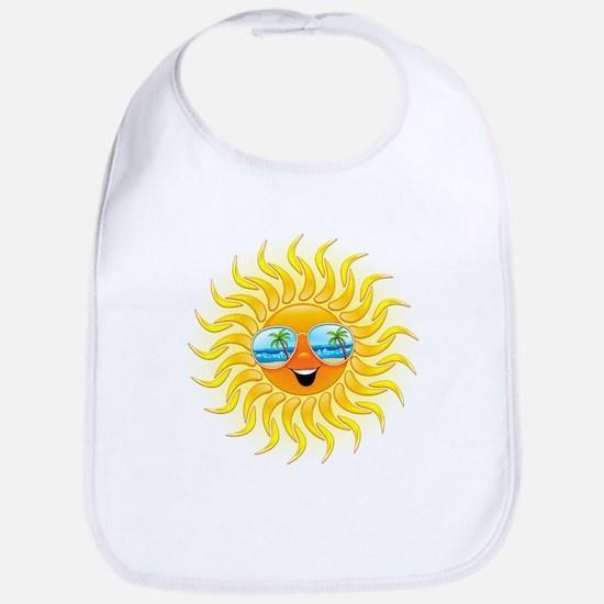 Summer Sun Cartoon with Sunglasses Bib