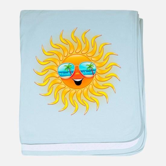 Summer Sun Cartoon with Sunglasses baby blanket