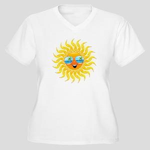 Summer Sun Cartoon with Sunglasses Plus Size T-Shi