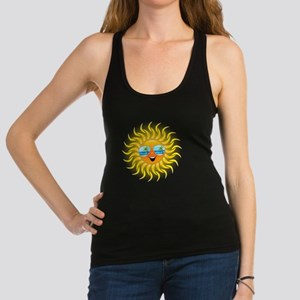 Summer Sun Cartoon with Sunglasses Racerback Tank