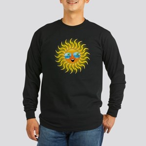 Summer Sun Cartoon with Sunglasses Long Sleeve T-S