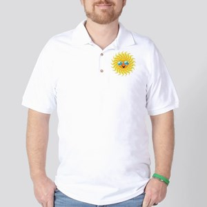 Summer Sun Cartoon with Sunglasses Golf Shirt