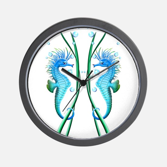 Seahorses Cartoon Wall Clock