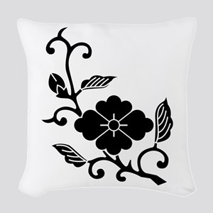 Rhombic chinese flower branch Woven Throw Pillow