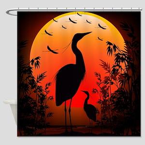 Heron Shape on Stunning Sunset Shower Curtain