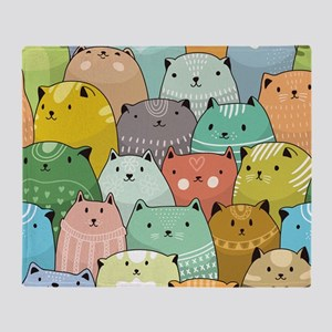 Super Cute Cat Pattern Throw Blanket
