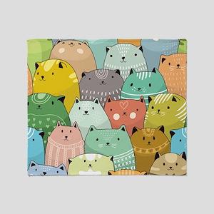 Super Cute Cat Pattern Throw Blanket