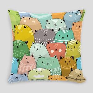 Super Cute Cat Pattern Everyday Pillow