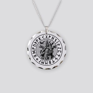 Odin Rune Shield Necklace Circle Charm