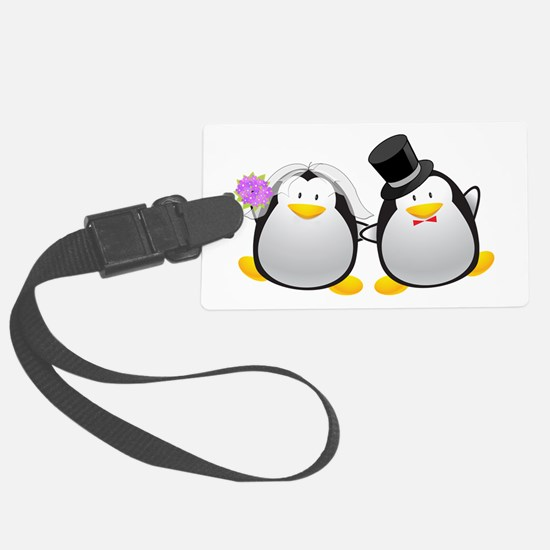 Penguin Bride and Groom Large Luggage Tag