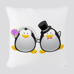 Penguin Bride and Groom Woven Throw Pillow