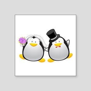 "Penguin Bride and Groom Square Sticker 3"" x 3"""