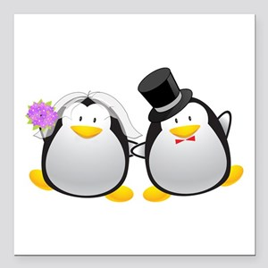 """Penguin Bride and Groom Square Car Magnet 3"""" x 3"""""""