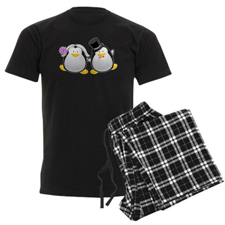 Penguin Bride and Groom Men's Dark Pajamas
