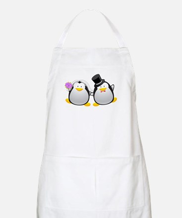 Penguin Bride and Groom Apron