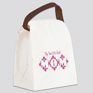 World's Best Mom - Heart Petals Canvas Lunch Bag