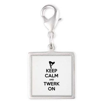 Keep Calm and Twerk On Silver Square Charm