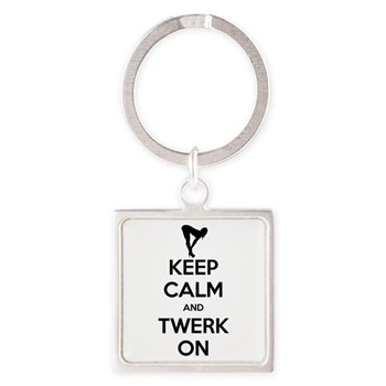 Keep Calm and Twerk On Square Keychain