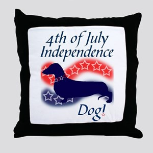 Independence Doxie! Throw Pillow
