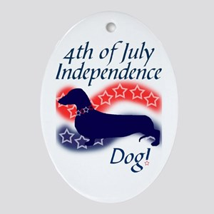 Independence Doxie! Oval Ornament