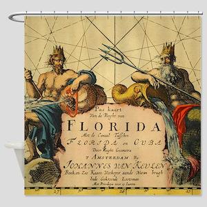 Vintage Florida Neptune Shower Curtain