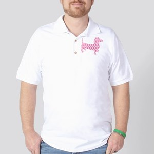 Pink Ribbon Cancer Doxie Golf Shirt