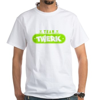 Neon Green Team Twerk White T-Shirt