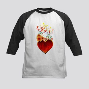 Valentine Floral Heart Love Baseball Jersey