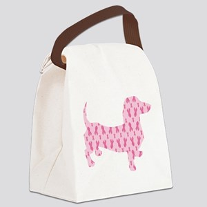 Pink Ribbon Cancer Doxie Canvas Lunch Bag