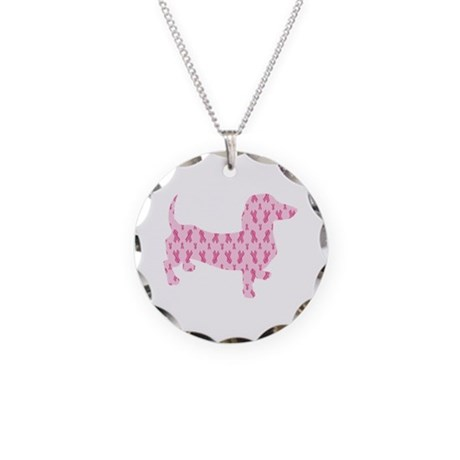 Pink Ribbon Cancer Doxie Necklace