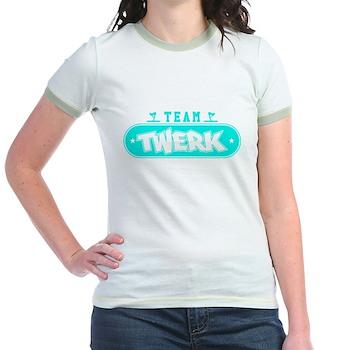 Neon Turquoise Team Twerk Jr. Ringer T-Shirt