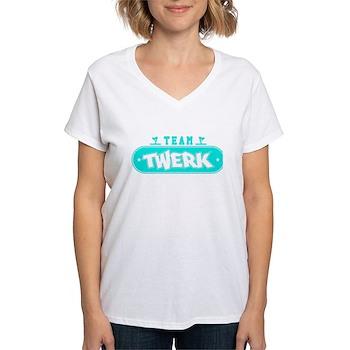 Neon Turquoise Team Twerk Women's V-Neck T-Shirt