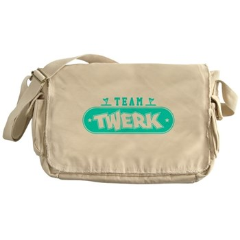 Neon Turquoise Team Twerk Canvas Messenger Bag