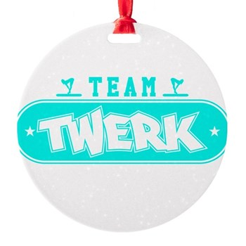 Neon Turquoise Team Twerk Round Ornament