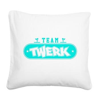 Neon Turquoise Team Twerk Square Canvas Pillow