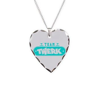 Neon Turquoise Team Twerk Necklace Heart Charm