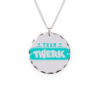 Neon Turquoise Team Twerk Necklace Circle Charm