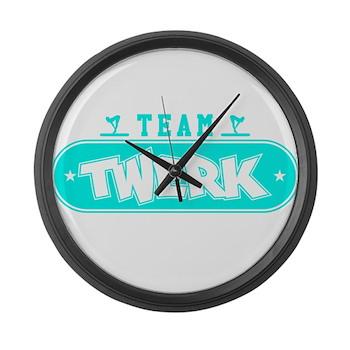 Neon Turquoise Team Twerk Large Wall Clock