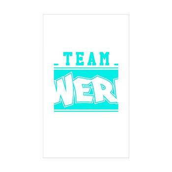 Neon Turquoise Team Twerk Rectangle Sticker (10 pa