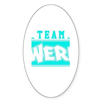 Neon Turquoise Team Twerk Oval Sticker (50 pack)