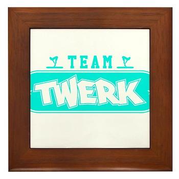Neon Turquoise Team Twerk Framed Tile