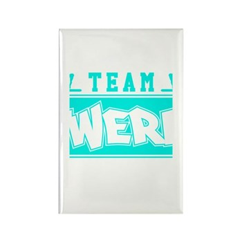 Neon Turquoise Team Twerk Rectangle Magnet (100 pa