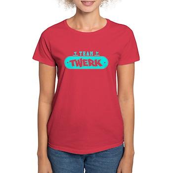 Neon Turquoise Team Twerk Women's Dark T-Shirt