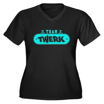 Neon Turquoise Team Twerk Women's Dark Plus Size V