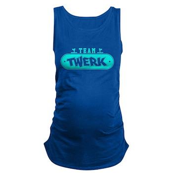 Neon Turquoise Team Twerk Dark Maternity Tank Top