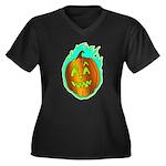 Flaming Jackolantern Halloween Pumpkin Plus Size T