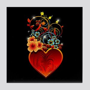 Valentine Floral Heart Love Tile Coaster