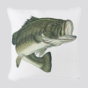 big bass Woven Throw Pillow
